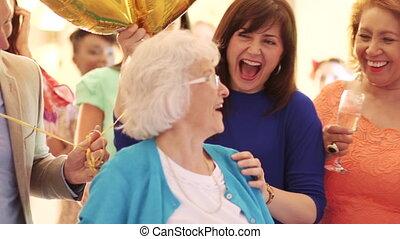überraschung, party!, geburstag