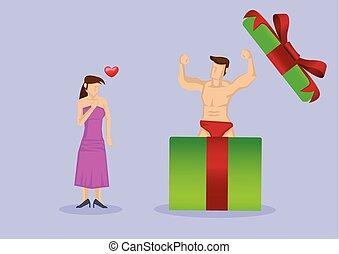 überraschung, stück, geschenk, sie, sexy