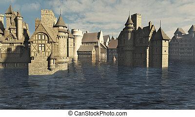 überschwemmt, mittelalterlich, stadt