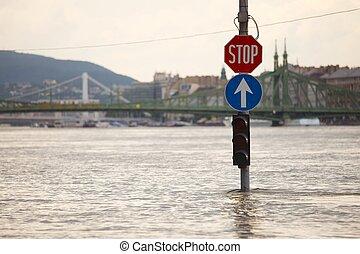 überschwemmt, straße