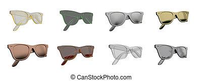 übertragung, 3d, abbildung, brille