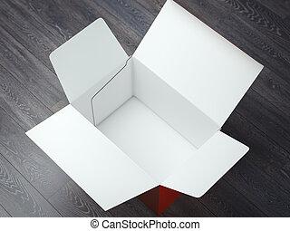 übertragung, box., geöffnet, karton, 3d