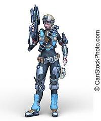 übertragung, cyborg, frau, cg, 3d