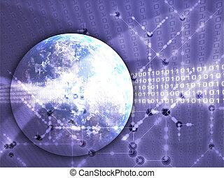 übertragung, global, daten