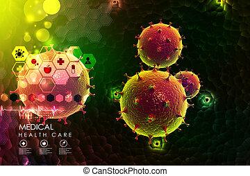 übertragung, virus, 3d