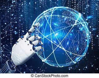 übertragung, zukunft, roboter, vision, hand.3d