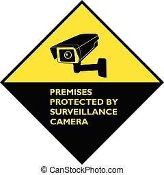 überwachung, aufmerksamkeit, gelber , geschützt, räumlichkeiten, fotoapperat, zeichen.