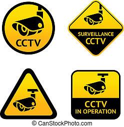 überwachung, satz, video, zeichen & schilder