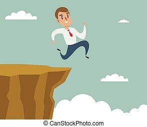 überwinden, lücke, begriff, felsformation, laufen sprung, geschaeftswelt, erfolg, geschäftsmann, schwierigkeit, aus