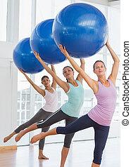 übung, pilates, klasse, kugeln, fitness