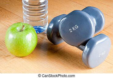 übung, und, gesunde diät