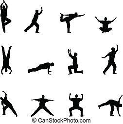 übung, und, joga, silhouetten