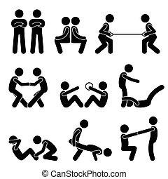 übung, workout, mit, a, partner