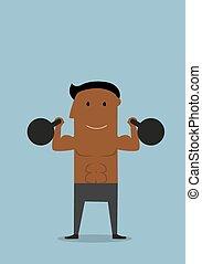 übungen, athlet, mächtig, kettlebells