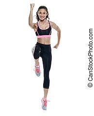 übungen, frau, freigestellt, fitness