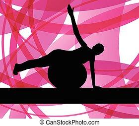 übungen, frau, kugel, fitness
