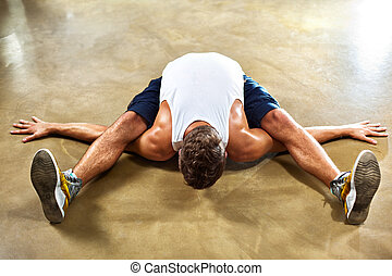 übungen, mann, junger, sport