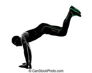 übungen, mann, silhouette, crossfit, fitness