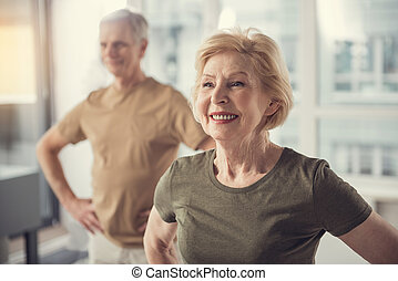 übungen, positiv, innen, physisch, pensionäre