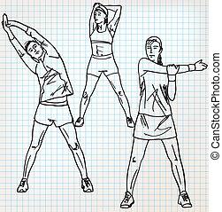 übungen, skizze, dehnen, abbildung