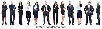 ügy, álló, emberek, sikeres, csoport, row.