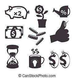 ügy, és, pénzel, ikon, állhatatos