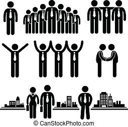 ügy, üzletember, csoport, munkás