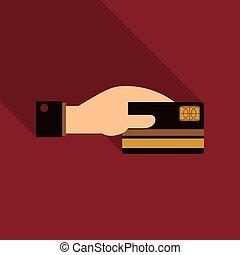 ügy, alak, kéz, hitel, vektor, birtok, kártya, ember