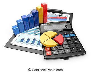 ügy, analytics., számológép, és, anyagi, reports.