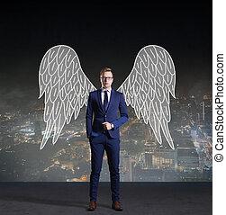 ügy, angyal, álló, képben látható, éjszaka, város, háttér., ügy, sponsoring, befektetés, concept.