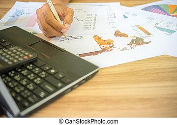 ügy bábu, dolgozó, noha, ábra, és, táblázatok