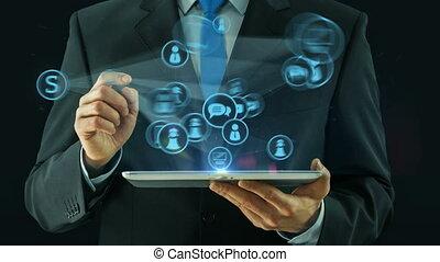 ügy bábu, hegyezés, képben látható, társadalmi, média, hálózat, fogalom, tabletta, kipárnáz, fekete
