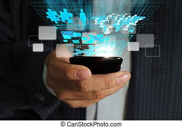 ügy bábu, kéz, alkalmaz, mobile telefon, folyó, tényleges, ügy, hálózat, eljárás, ábra