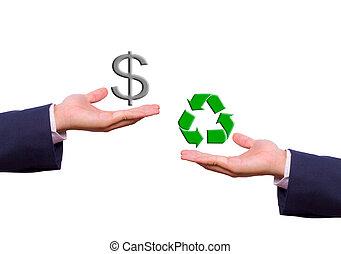 ügy bábu, kéz, cserél, dollar cégtábla, és, újra hasznosít,...
