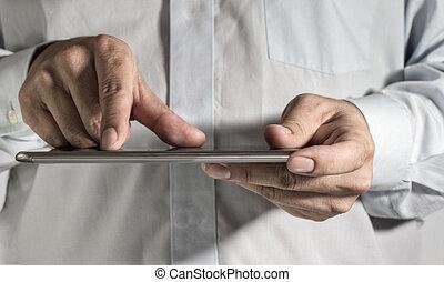 ügy bábu, kéz, munka on, egy, digital tabletta