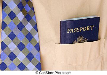 ügy bábu, noha, egy, útlevél, alatt, zseb