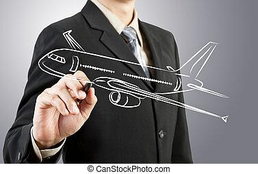 ügy bábu, rajzol, repülőgép, szállítás