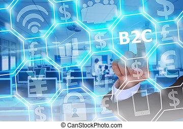 ügy, b2c, ellenző, modern, tényleges, megható, üzletember, fogyasztó, vagy