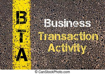 ügy, betűszó, bta, üzleti transzakció, elfoglaltság