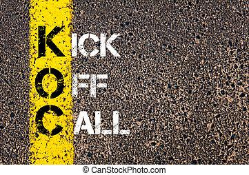 ügy, betűszó, koc, mint, kickoff, hívás
