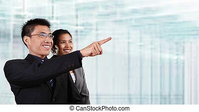ügy, boldog, ázsiai, két ember