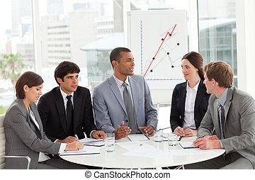 ügy, csoport, tanulás, vásár jelent