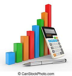ügy, diagram, kiállítás, anyagi siker, -ban, állandó piac