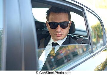 ügy, elhelyezett, alatt, egy, luxury autó