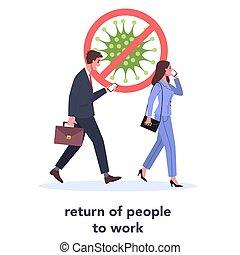 ügy, eltöröl, emberek, dolgozó, elindít, hivatal., izolál