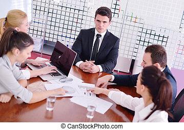 ügy emberek, alatt, egy, gyűlés, -ban, hivatal