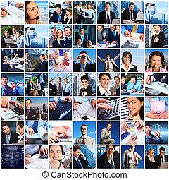 ügy emberek, befog, collage.