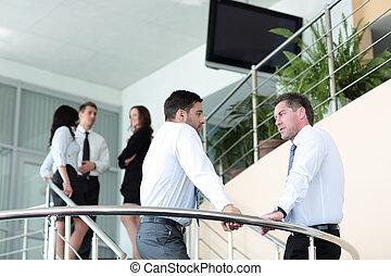 ügy emberek, befog, dolgozó, alatt, a, modern, hivatal
