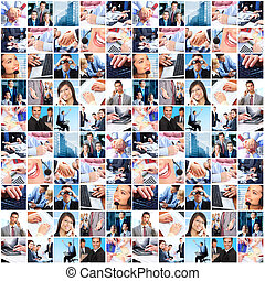 ügy emberek, csoport, collage.