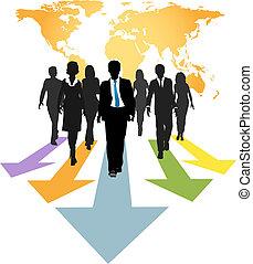 ügy emberek, globális, nyílvesszö, előmozdít, előrehalad